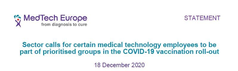MedTech Europe -Inclusion of critical industry workers in the priority list for COVID-19 vaccines