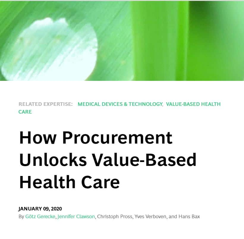 bcg Publication – How Procurement Unlocks Value-based Health Care