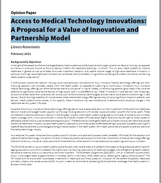 Access to Medical Technology Innovations: A Proposal for a Value of Innovation and Partnership Model