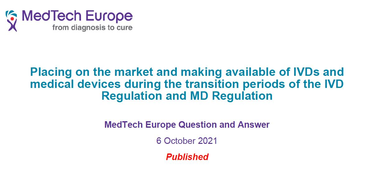 MedTech Europe – Placing on the market_transitional provisions Q&A